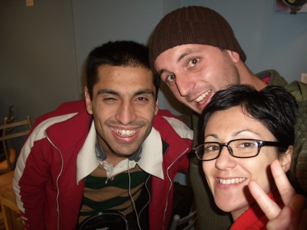 Christian, myself and Evelin at the Cafe in Bellas Artes, Santiago