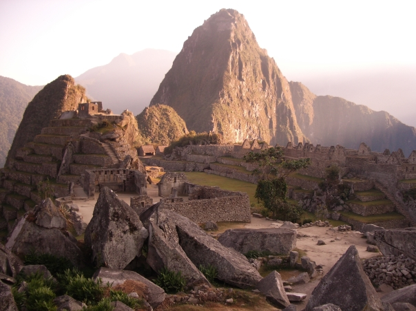 The sun rushes in over the majestic peak of Waynupicchu